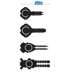 Set of spaceship weapons silhouette five vector