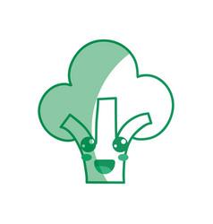 silhouette kawaii cute happy broccoli vegetable vector image