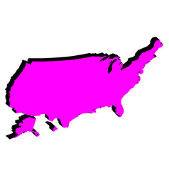 silhouette map united states america vector image