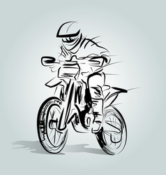 Sketch a motocross rider vector
