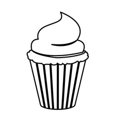 Sketch contour of hand drawing cupcake with vector