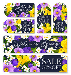 Springtime sale shopping tags of flowers vector