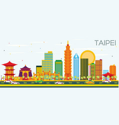 taipei skyline with color buildings and blue sky vector image