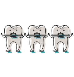 Teeth cartoon holding hands with dental braces in vector