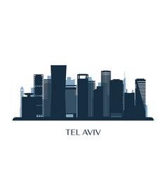 tel aviv skyline monochrome silhouette vector image
