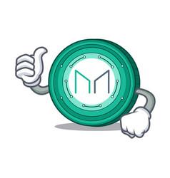 Thumbs up maker coin character cartoon vector