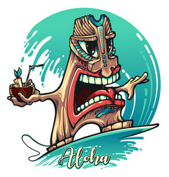 tiki surfer on wave vector image