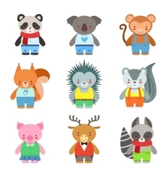 Toy Animals Dressed Like Kids Characters Set vector