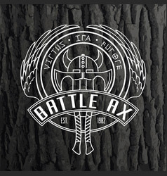 two viking battle axes and horned helmet linear vector image