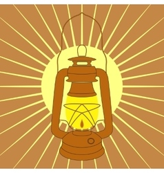 Vintage mine kerosene lamp over yellow sunrise vector image