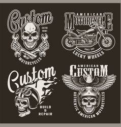 vintage monochrome custom motorcycle prints vector image