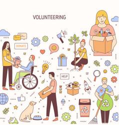 volunteering banner design altruistic vector image