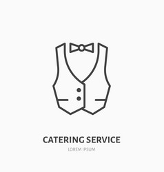 Waiter flat line icon vest professional uniform vector