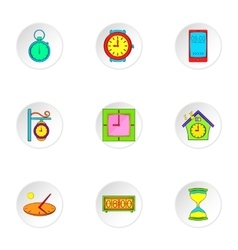 Watch icons set cartoon style vector