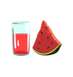 watermelon fruit juice glass of natural vector image