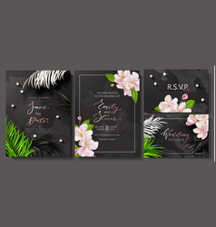 wedding invitation cards with marble texturebeads vector image