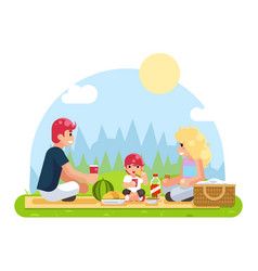 Weekend family vacation on nature food flat design vector