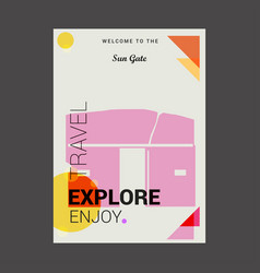 Welcome to the sun gate cusco region peru explore vector