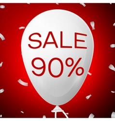 White baloon with text sale 90 percent discounts vector