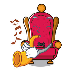 With trumpet king throne mascot cartoon vector