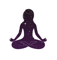 woman is sitting in lotus posture vector image
