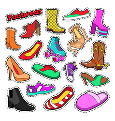 womens fashion shoes and boots set for stickers vector image