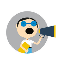 Young boy in glasses with megaphone icon vector