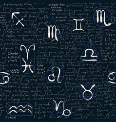 Zodiac seamless pattern with lorem ipsum text vector