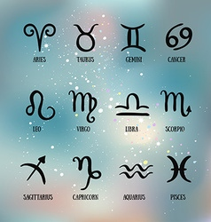 Zodiac signs Set of simple zodiac with captions vector image
