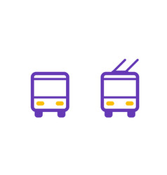bus and trolleybus icons passenger transport vector image vector image