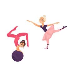 cartoon girls doing sports set vector image