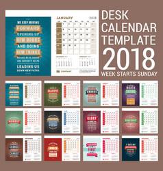 Desk calendar template for 2018 year template vector