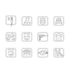 genres of cinema flat line icons set vector image
