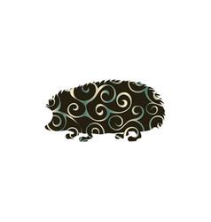 Hedgehog wildlife color silhouette animal vector