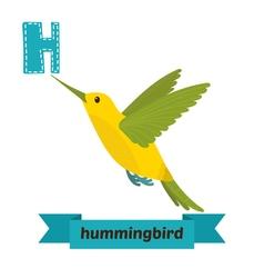 Hummingbird h letter cute children animal alphabet vector