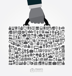 infographic Template with businessman hand hold vector image