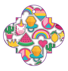 pattern shape badge with cute patches fantansy vector image