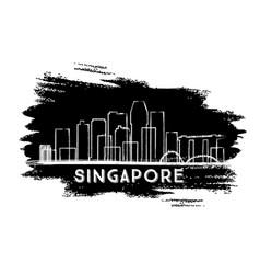 singapore skyline silhouette hand drawn sketch vector image