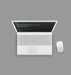 white laptop from above vector image
