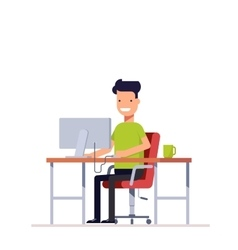 A young employee working at the computer vector image