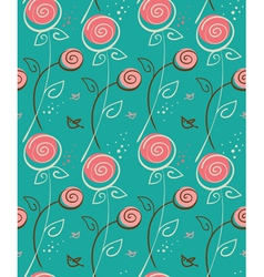 abstract floral pattern with birds vector image vector image