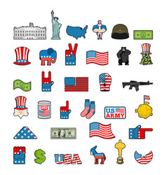 america icon set national sign of usa american vector image vector image