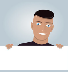 cartoon man and blank paper for web site user vector image