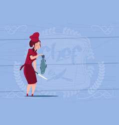 Female chef cook holding fish cartoon chief in vector