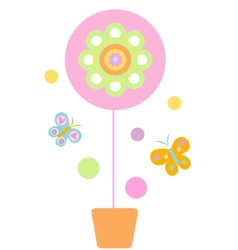 Flower and Butterflyes vector image vector image