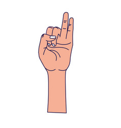 Hand with pinky and ring finger up symbol vector