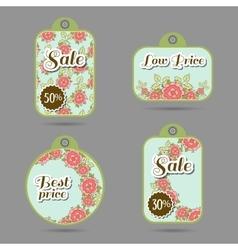 Labels Design Roses On Blue vector image