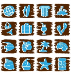 square grungy tropical buttons vector image