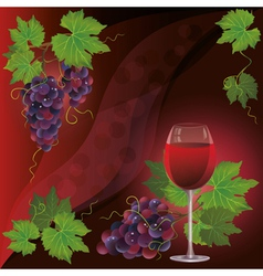 Wine glass and black grape background vector image