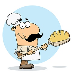 Caucasian Cartoon Bread Maker Man vector image